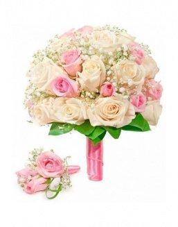 Bouquet of roses: cream and pink | Delivery and order flowers in Aktau