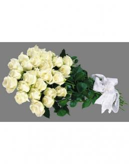 Bouquet of 25 white Dutch roses | Delivery and order flowers in Aktau