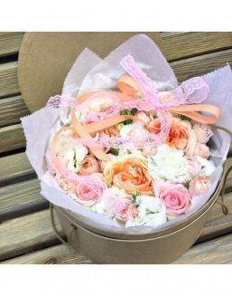 Gentle peonies in a round decorative box | Delivery and order flowers in Aktau
