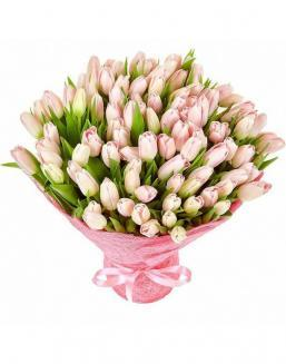 Bouquet 101 pink tulips | Delivery and order flowers in Aktau