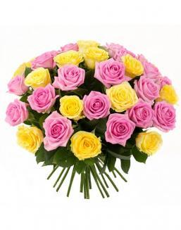 Bouquet mix of 33 pink and yellow roses | Delivery and order flowers in Aktau