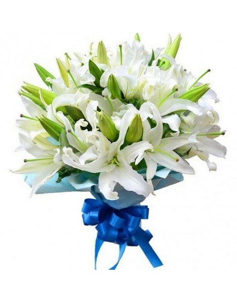 Bouquet of 15 white lilies